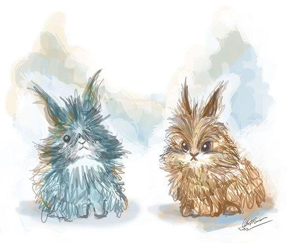 Gribouille et Pitchoune, les petits lapins dessinés par An Maria Gonzalez